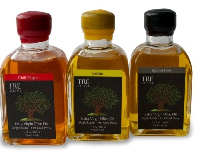 Tre Olive infused bottles