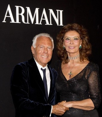 Giorgio Armani and Sophia Loren at 'One Night in Rome' – photo Ansa