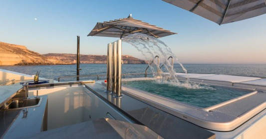 Benetti Ocean Paradise waterfall pool