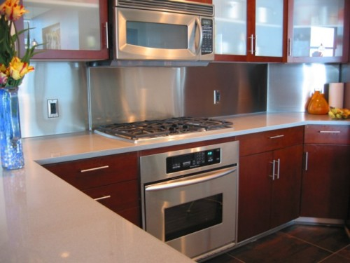 Stainless Steel Backsplash in modern kitchen