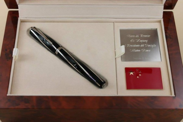 One of the Visconti best selling pens, as well as one of their most successful designs: The Black Divina. This one was specifically customized to celebrate Italian partnership with China.