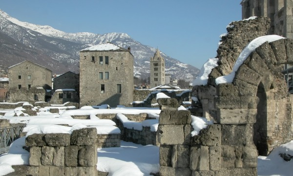 Ruins of the Roman Theatre and Church of SantOrso in Aoste Italy