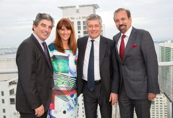 Carlos Rosso, Sonia Figueroa, Paolo Pininfarina and Jorge Perez at the launch party for 1100 Millecento