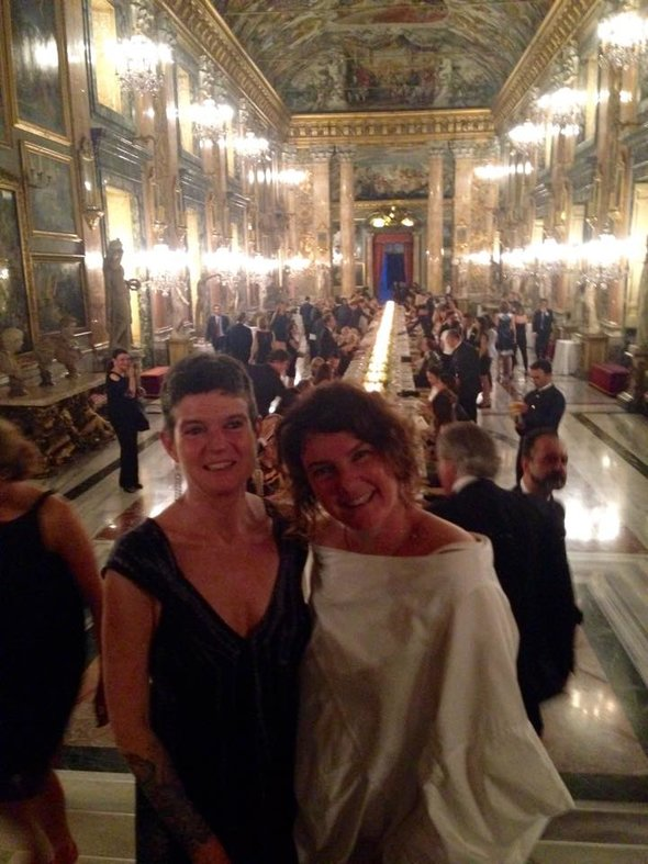 Elisa Tozzi Piccini (right) at Galleria Colonna private dinner