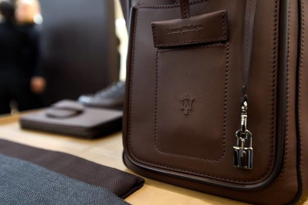 Maserati Zegna capsule collection leather bag