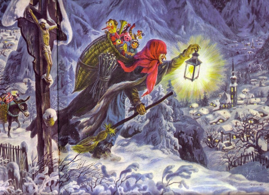 painting by james lewicki from the golden book of christmas tales 1956 - Italian Christmas Witch