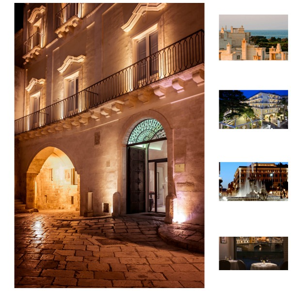Puglia, Matera, Amalfi Coast, Rome and Florence hotels collage