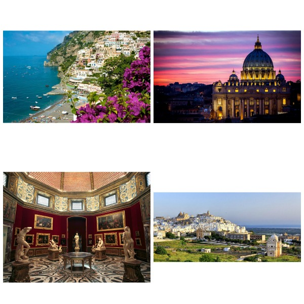 Puglia, Matera, Amalfi Coast, Rome and Florence sites Collage