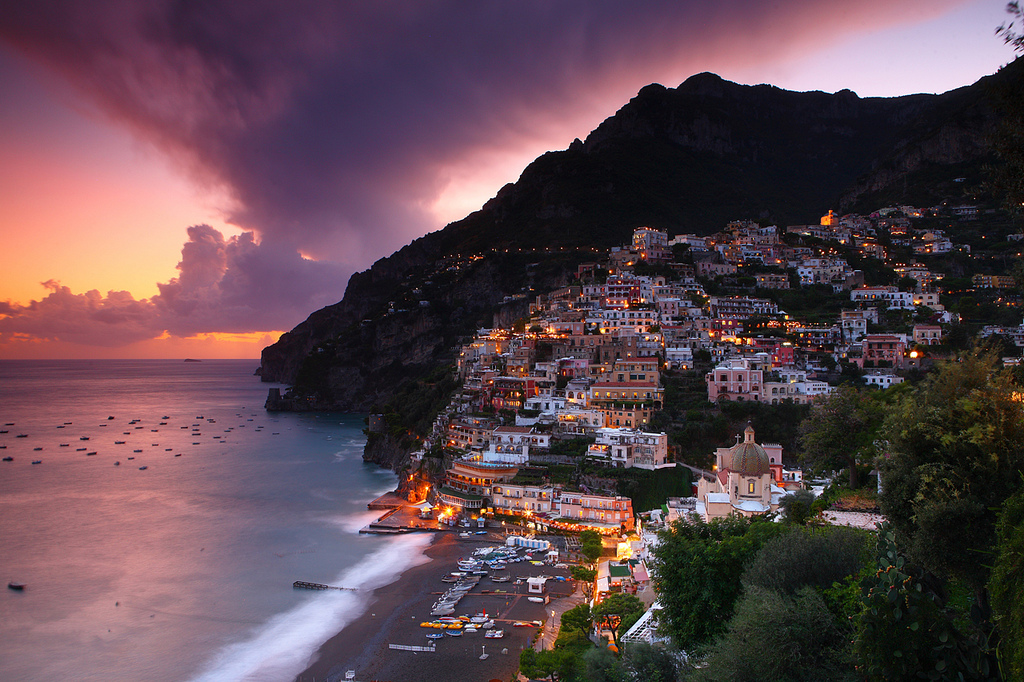 Positano at dusk, Amalfi Coast, Italy by Eric Hossinger